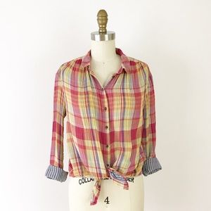 Anthropologie Pink Plaid Gauze Button Shirt K389